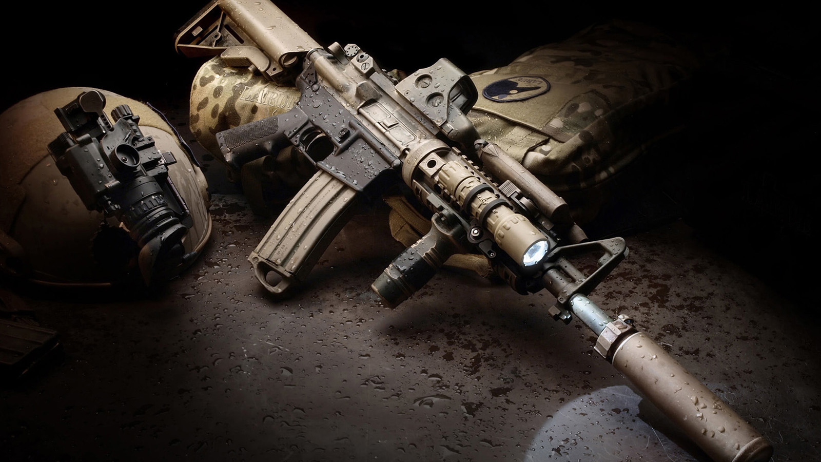 The Colt AR-15 is a lightweight, 5.56×45mm, magazine-fed, air-cooled  semi-automatic, gas-operated rifle with a rotating bolt.